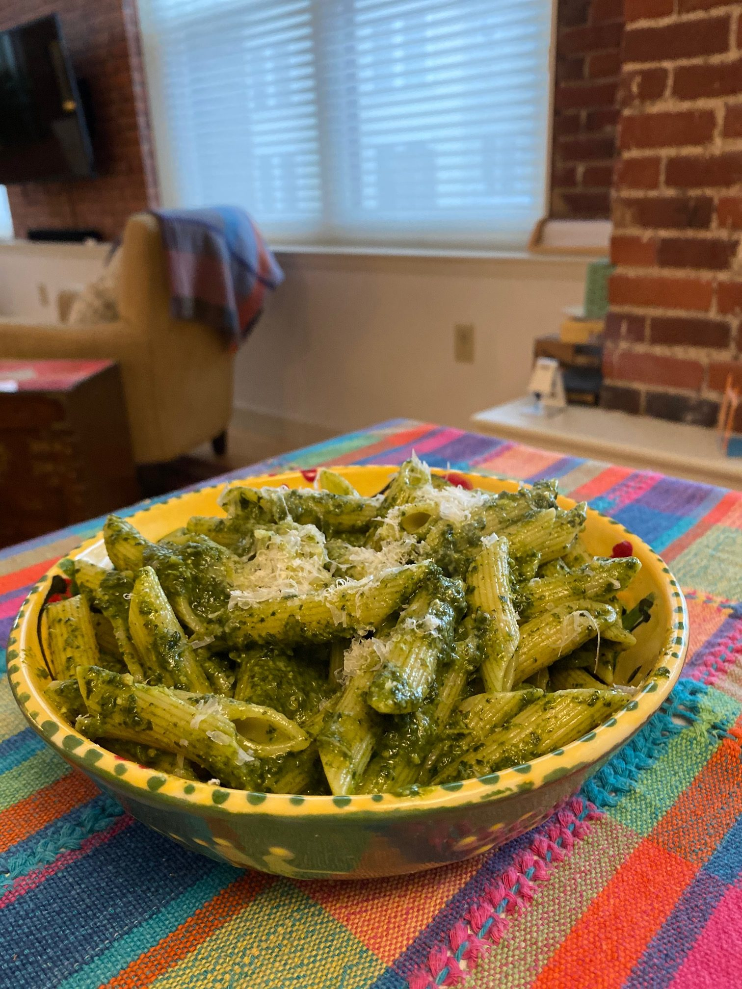 penne with kale pesto